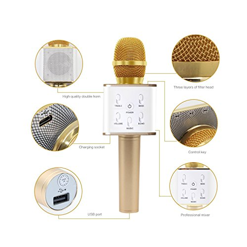 MAVIE Q7 スマホカラオケマイク 大容量2600mAh 高音質 カラオケ機器 ワイヤレス  KTVカラオケマイク 一人でカラオケ コンピュータ AndroidとiPhoneに対応 ポータブル ゴールド