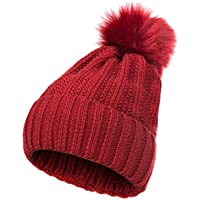 GLOUE Women's Winter Beanie Warm Fleece Lining Slouchy Cable Knit Skull Hat Ski Cap
