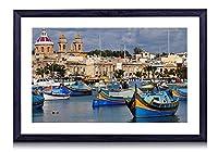 マルタ島、ボート、住宅、海 - 木製の黒額縁装飾画壁画 写真ポスター 壁の芸術 (50cmx35cm)