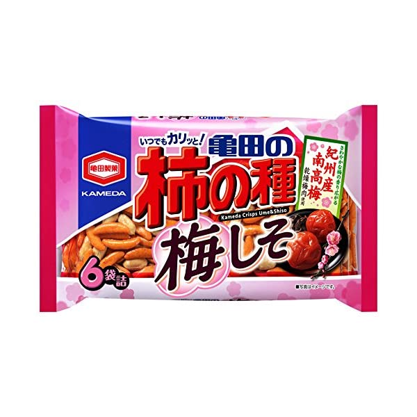 亀田製菓 亀田の柿の種梅しそ6袋詰 182gの商品画像