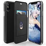 iPhone X ケース, iPhone 10 ケース 手帳型 カード収納 耐汚れ 衝撃吸収 手帳型ケース おしゃれ アイフォン X ケース (ブラック)