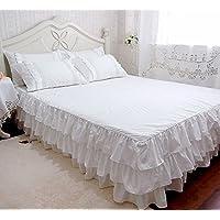 ホワイトベッドスカート 綿100%三層ラッフルフリル可愛いベッドスカート