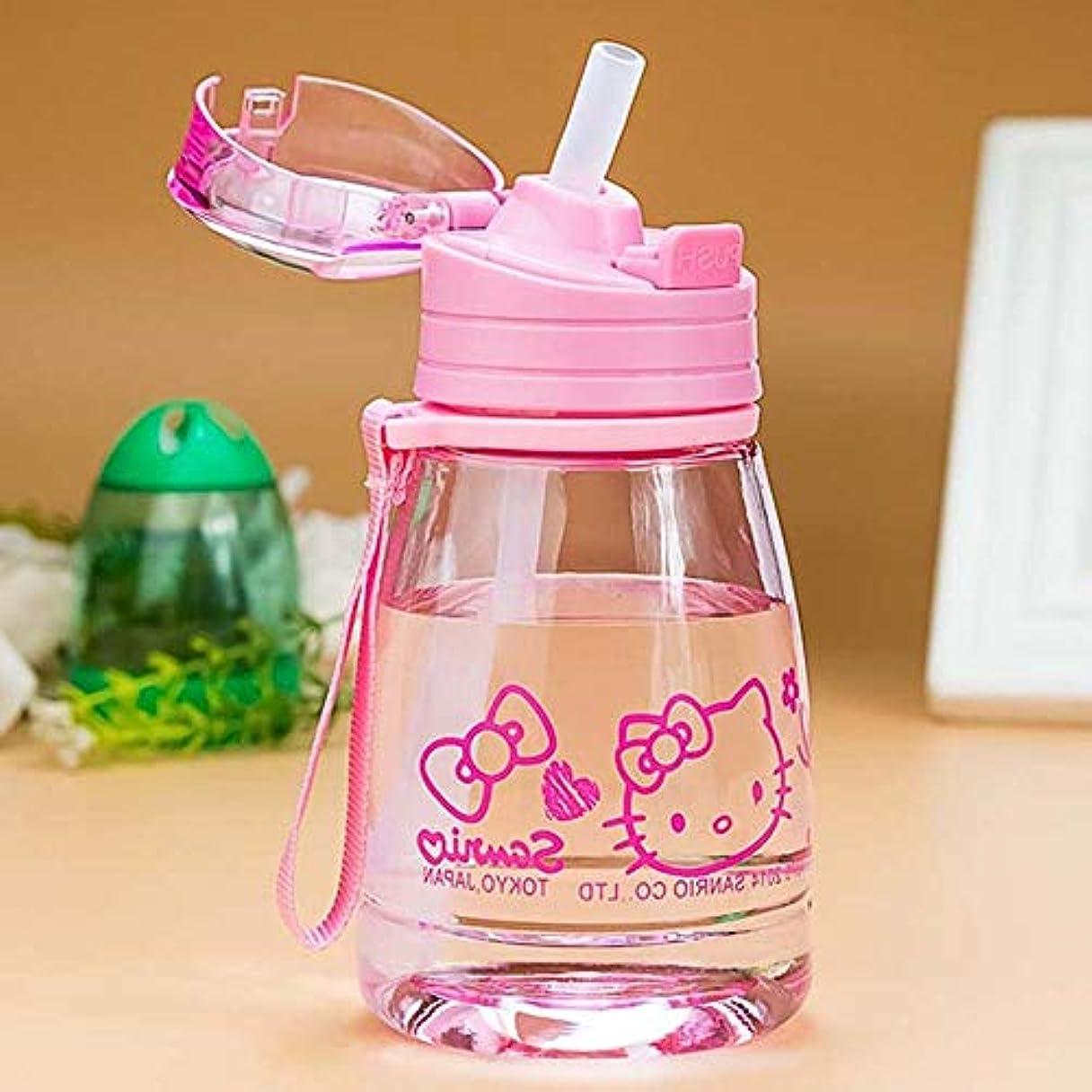 境界タワー入射Dobetter わらが付いている流行の水差し、350 mlかわいい様式の携帯用水差し (Color : Pink)