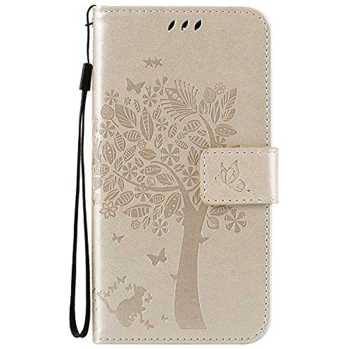 段階感性テストOMATENTI LG K7 / K8 ケース 手帳型ケース ウォレット型 カード収納 ストラップ付き 高級感PUレザー 押し花木柄 落下防止 財布型 カバー LG K7 / K8 用 Case Cover, 白