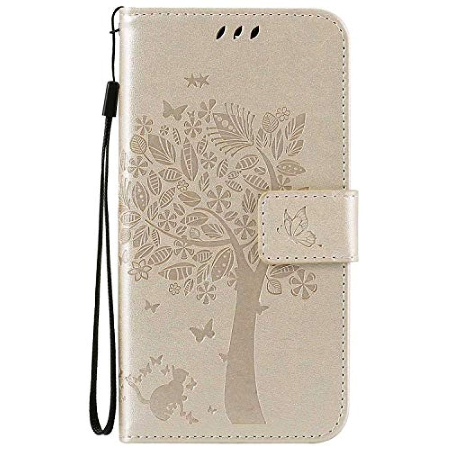 スリム昼寝流用するOMATENTI LG K7 / K8 ケース 手帳型ケース ウォレット型 カード収納 ストラップ付き 高級感PUレザー 押し花木柄 落下防止 財布型 カバー LG K7 / K8 用 Case Cover, 白