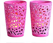 Boho Traders Candle Holder Set in Box, Red, Pack of 2