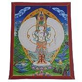 (並行輸入品) アジアン雑貨 ネパール仏画 十一面千手千眼観音像菩薩