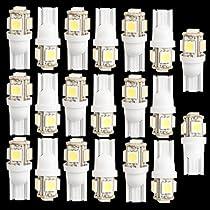 SODIAL(R)20個T10 194 168 W5W 5 5050 SMD LED電球 キセノン ホワイト 車のテールライト