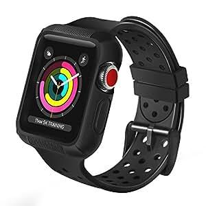 BRG コンパチブル apple watch バンド,コンパチブル apple watchケース付きの一体式バンド 耐衝撃シリコン アップルウォッチバンド 防汗 傷防止 Apple Watch Series3/2/1対応 (42mm,ブラック)