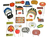 Lago 小売り用感謝祭写真ブース用小道具 - スティックにDIY不要 - おもしろターキーデー - ホリデーパーティーのデコレーションに - あらゆる家族にぴったりのテーマパーティーキット