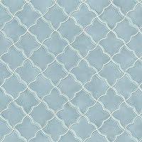 壁紙屋本舗 キッチンマット 拭ける アラベスクタイル (ブルー) 250cm×60cm クッションフロア