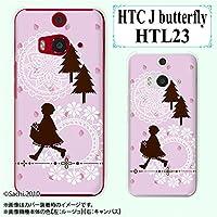 au HTC J butterfly HTL23 専用 スマホケース カバー 赤ずきん ピンク イチゴ