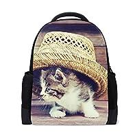 Carrozza リュックサック 学生 リュック オシャレ レディース 子供 大容量 猫 猫柄 動物 帽子 ディバッグ バックパック メンズ 通勤 通学 かわいい キャンバス