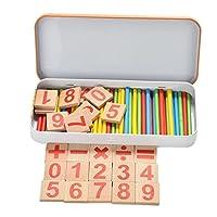ベビーキッズMontessori Toy with Ironボックス子教育数学玩具木製玩具ゲームデジタルスティックおもちゃ