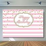 COMOPHOTO 写真撮影用背景幕 ピンクと白のストライプ 大人 子供 プリンセス 誕生日パーティー バナー 写真ブース 背景 金色の水玉 キラキラ 7×5フィート