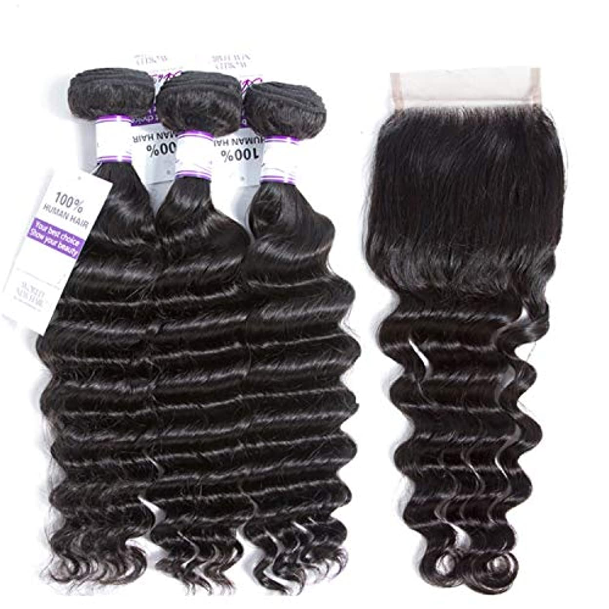 無謀絶望的な和解する緩い深い波3バンドルで4 * 4閉鎖ブラジル髪織りバンドル非レミー100%人毛エクステンション (Length : 22 24 26 Cl18, Part Design : FREE PART)