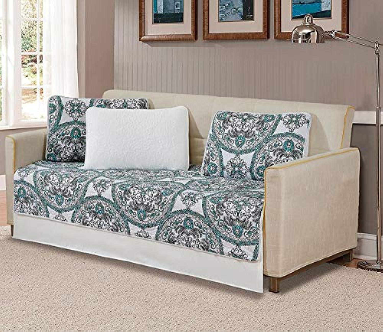 ファンシーコレクションキルト風ベッドスプレッドモダンプリント花柄ホワイトグリーンブラックoverサイズ新しい Daybed