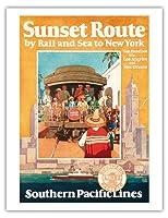 ニューヨークへの鉄道と海で夕焼けルート - 南太平洋行 - ビンテージな鉄道旅行のポスター によって作成された ミシェル・カーディ c.1950 - アートポスター - 51cm x 66cm