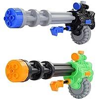 Fun-Here 水鉄砲のおもちゃ 巨大な 長さ72 cm パック2 射程距離が遠い ガトリングスタイル 空気圧連続に水出し屋外の屋内に適し 子供と大人の両方に適し