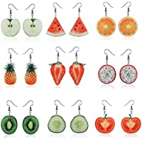 9 Pairs Creative Funny Lifelike Fruits Earrings Drop Dangle Hook Earrings for Girls Women