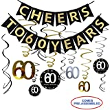 60th Birthday Party Decorations Kit - Cheers to 60 Years Banner, 12Pcs Sparkling 60 Hanging Swirl Decorations, Perfect 60th Anniversary Decorations 60 Years Old Party Supplies.
