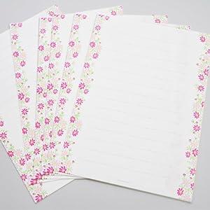 表現社 レターセット(コスモスのレターセット) 美濃和紙便箋6枚・封筒3枚入 No.23-182