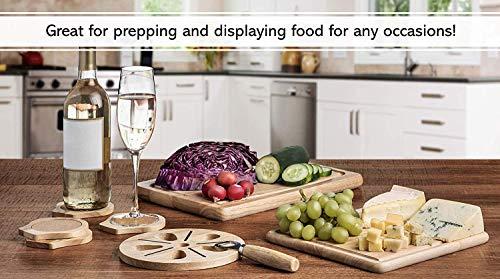 『Best Kitchen Essentials まな板 厚手木製ブロック チョッピングカービングボード 1台 竹製チーズボードオーガナイザー 木製コースター4枚 栓抜き1つ 大型マット1つ 鍋つかみギフトセット』の5枚目の画像