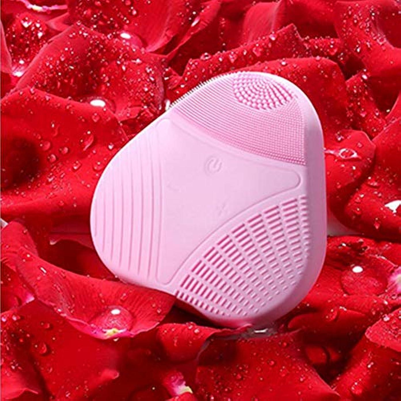韻所有者疑い者美肌音波洗顔ブラシ IPX7防水 USB充電 電動 顔マッサージャー器 毛穴ケア アニオン導入 5階段のスピード設定 振動洗顔 美顔器 敏感肌 脂性肌 乾燥肌用 男女兼用 洗顔器 (ベビーピンク)