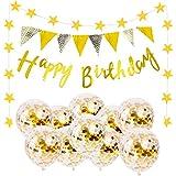 Dyrenson 誕生日 飾り付け セット 風船 バルーン ガーランド ゴールド バースデー HAPPY BIRTHDAY 装飾 デコレーション