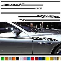 カーピンストライプステッカー03■車用デコラインバイナルグラフィックワイルドスピード系デカール(ブラック)★色変更可★
