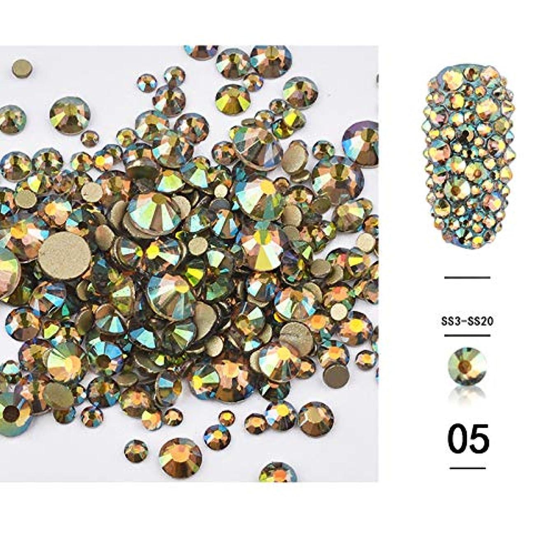 航空機端蒸留する(1440pcsのパック)ネイルアートラインストーン3DデコレーションフラットボトムダイヤモンドシャイニーABクリスタル混合サイズDIYアクセサリー