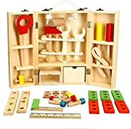 Wooden Tool Toys Toolbox Kids Toy Educational Toy DIY Construction Toolbox Pretend Toys Portable For Family Ga