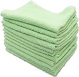 おしぼり カラータオル 業務用 12枚入り 綿100% 約30g グリーン 38×28cm