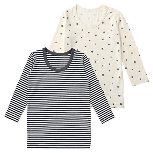 西松屋[HOT WRAP] 2光盘长袖衬衫(HoshiSogara边界)[80厘米·90厘米·95厘米]