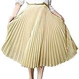 (アッシュランゲル) ASHERANGEL レディース キラキラ 光沢 プリーツ ロングスカート 広幅 L 金色