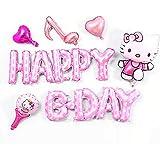 ハローキティ 誕生日 装飾 キティちゃん 可愛い ピンク 女の子 子供 キャラクター ディズニー happy birthday ガーランド バルーン 風船 ハート 音符 6枚セット