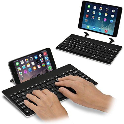 [スタンド内蔵] iPad&iPhone 用 マルチキーボード Bookey© Plus(ブラック)iPad シリーズ・iPad mini/mini2(Retina)/mini3/mini4/Air/Air2・iPad Pro 9.7/10.5インチ・iPhone6s/6s Plus/7/7 Plus/8/8 Plus 対応のワイヤレスキーボード【JTT Online】技適認証済