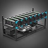 プロ GPU 8枚 マイナーケース アルミ 積載可能なマイニングリグケース オープンエアフレームEthereum(ETH)/ETC/ZCash向け GPU性能と寿命を向上させる空気対流デザイン 仮想通貨マイニング向け