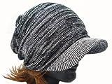【サマーニット帽】コットン サマーニットキャスケット ギャザー つば付 無地 ミックス (ブラック×ホワイト)