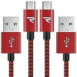 Micro USBケーブル【2本組 1m】Rampow生涯保証ケーブル マイクロusbケーブル 2.4A 急速充電 Android microusb対応 編組ナイロン材質