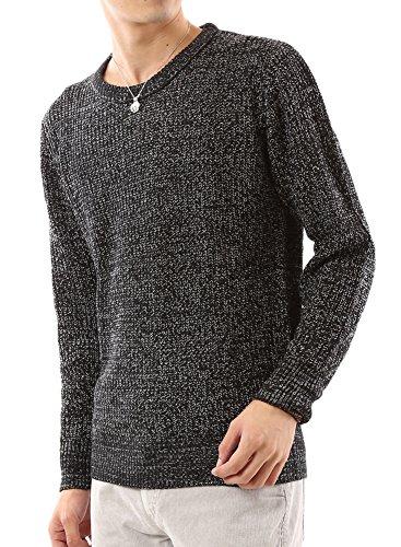(アーケード) ARCADE ニット メンズ 畦編み セーター シンプル 長袖 L ブラックミックス(クルーネック)