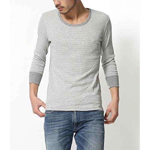 (ジーアールエヌ)grn メンズ 7分袖Tシャツ 無地 パックT ボーダー柄 フライス