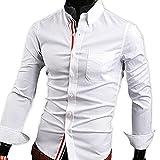 【 スマイズ スマイル 】 Smaids×Smile メンズ 長袖 Yシャツ スリム 襟 付き 柄 ドレス シャツ (ホワイト XL)