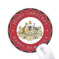 キャンベラオーストラリアの国章 円形滑りゴムのクリスマスマウスパッド