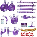 31 Pcs New Laboratory Essential Oil Steam Distillation Organic Chemistry Apparatus Glassware Kit Full Set Lab Chemical Device w/Graham Condenser 24/29 Joint Separatory Funnel