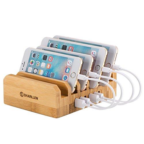 竹製 6ポート USB急速充電 ステーション タブレット収納 iPhone / Galaxy / iPad / Android / Xperia スマホ対応 By Sharllen(木)