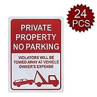 Aspire Premium Aluminium駐車禁止標識 私有財産の看板 違反者は 車の所有者に追いやられることになります - No Parking/24個入り - 25cm W x 35cm L