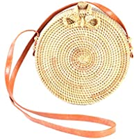 Round Straw Bag Straw Tote Bag for Women, Rattan Bag Crossbody Bag with Shoulder Strap, Handmade Shoulder Bag for Beach Travel Outdoor