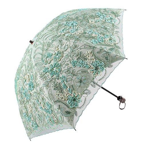 Honeystore日傘折りたたみレース日傘立体的な花柄細工刺繍二重張りUVカット100グリーン