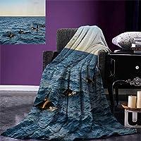 """小さなクジラのスローブランケット 本物の写真の絵 4つのキラーのクジラが海に出てくる アートワークプリント 暖かいマイクロファイバー オールシーズンブランケット ベッドソファ 50インチx30インチ ブルーブラック 62""""x60"""""""
